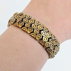 Vintage Gold Plated Honeycomb Band Bracelet Monet